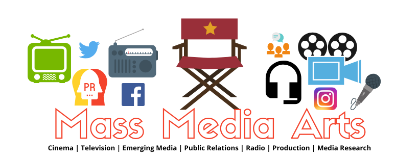 Banner depicting the areas of the mass media arts; 11 images. Caption reads: Cinema, television, emerging media, public relations, radio, production and mass media research
